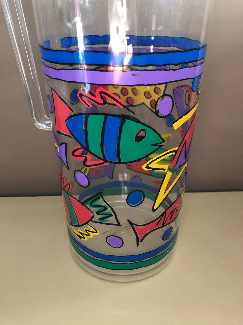 80s Garden Outdoor Party Fisher Gift Juice Water Cocktail Bright Colors Vintage 90s Clear Acrylic Lucite Pop Art Fish Print Pitcher