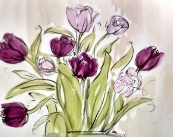 purple, tulips, gathered flowers, tulips in a vase, purple tulips watercolor