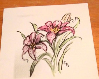 flower greeting cards, bird greeting cards, insides blank greeting cards, original Watercolor Prints