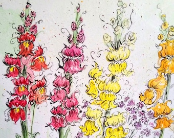 Lovely snapdragon watercolor flowers, colorful, bright and cheery