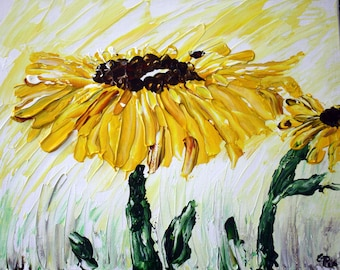 brilliant Sunflower, sun drenched sunflower, summer flowers, acrylic