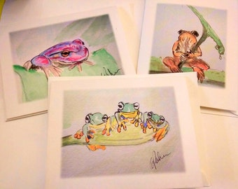 Watercolor frogs, greeting cards, blank, frogs, colored frogs, fun frogs