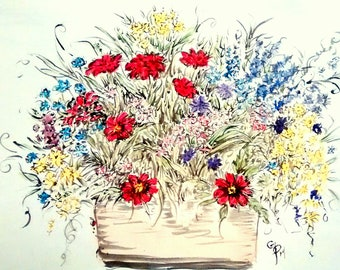 scenery, outdoor flowers, large bursting flower pot, watercolor