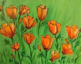 outdoor flowers, wildlife, flowers, orange poppies, daisies, Wildflowers acrylic