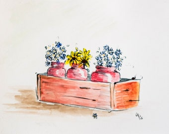 dry/silk Flowers, country style decor, dried flowers in a wood box, watercolor