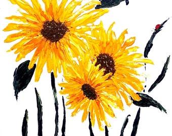 bursting sunflowers, brilliant summer flowers, large sunflowers, Acrylic
