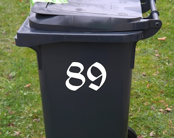 Wheelie Bin Numbers Decal Stickers Gothic Old English Alternative Numerals Trash Can Door Garage Black White Waterproof House Vinyl