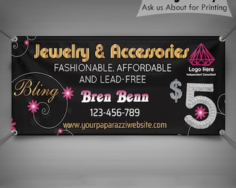 Personalized Jewelry Vinyl Banner 2.5ft x 6ft/_ Custom Vinyl Banner/_Digital File Only