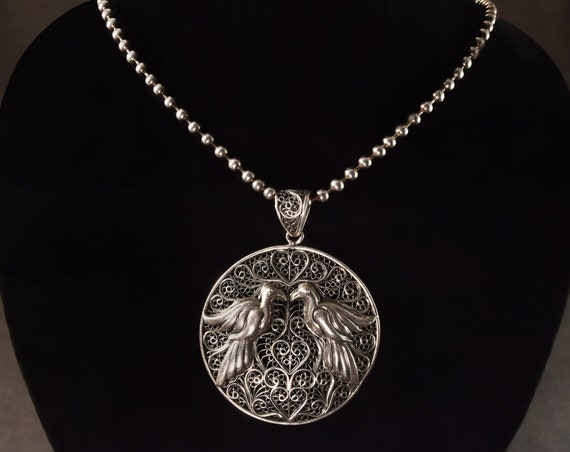 Vintage Taxco Mexico Sterling Silver 925 Beaded Filigree Onyx Pyramid Chain Necklace 23