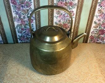 Large 1 gallon Vintage Woko Brass kettle. Functional rustic decor.