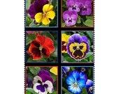 Pansy Panel 6 Squares 23 quot x 22 quot Floral Lovely by Elizabeth 39 s Studio