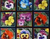Pansy Panel 9 Squares 23 quot x 26 quot Floral Lovely by Elizabeth 39 s Studio
