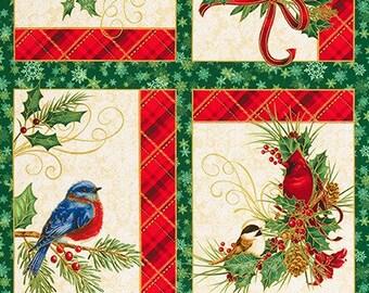 "Winter's Grandeur 8~Bird Holiday Panel~ 24"" x 44""~ Cotton Fabric by Robert Kaufman"