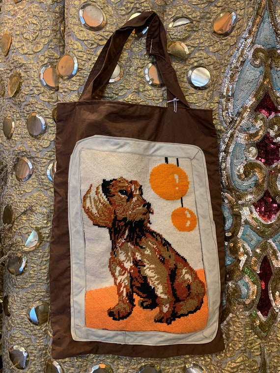 Retro kitsch Handmade tote with dog Tapestry panel