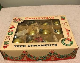 Vintage glass Christmas tree ornament set of 12
