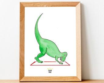 Dinosaur Downward Dog Yoga Art Print