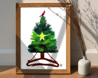 Easy Pose Evergreen Tree Yoga Art Print, Sukhasana, Cardinal Bird, Holiday Christmas Decor
