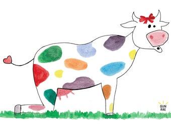 Cow Pose Yoga Art Print Kids Room Whimsical Painting