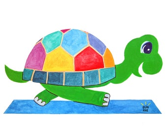 Yoga Art Print Turtle Pose Kurmasana Kids Whimsical Painting