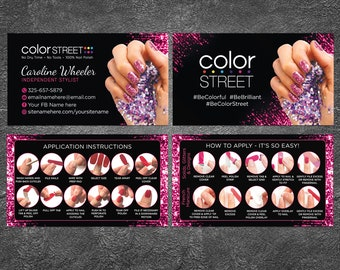 Personalized Nail Business Cards, Color Street Business Cards, Application Instructions, Independent Stylist, ColorStreet Business Card CS#2