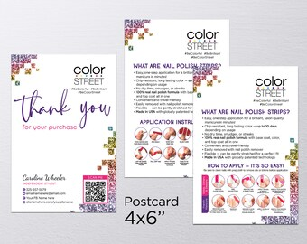 Color Street Thank You Cards 4x6, Color Street Business Cards, What is Color Street, Nail Thank You Cards, Color Street Thank You Card #12