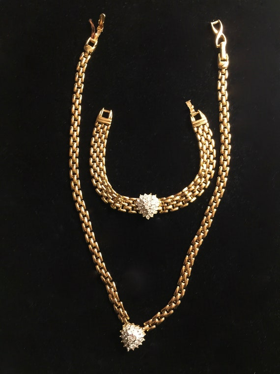 D'Orlan(Boucher) Rhinestone Necklace and Bracelet