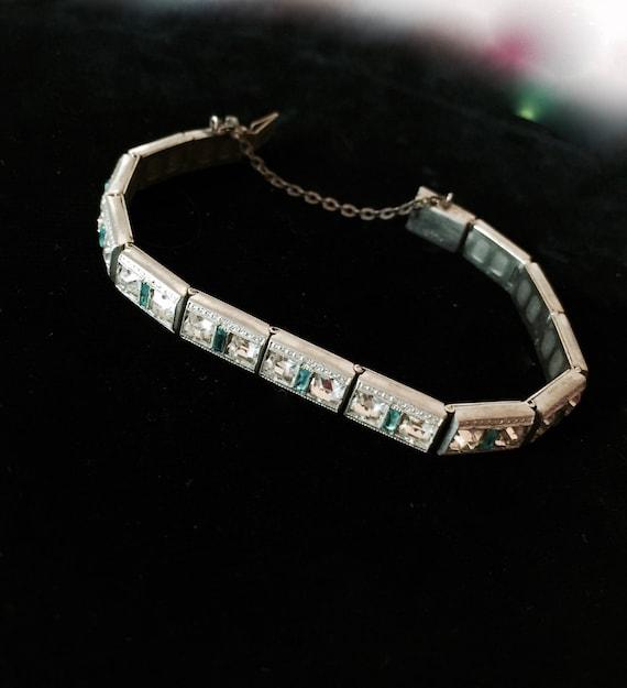Aqua Allco Art Deco Paste Bracelet