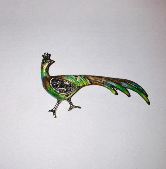 Sterling Enamel Peacock Pin