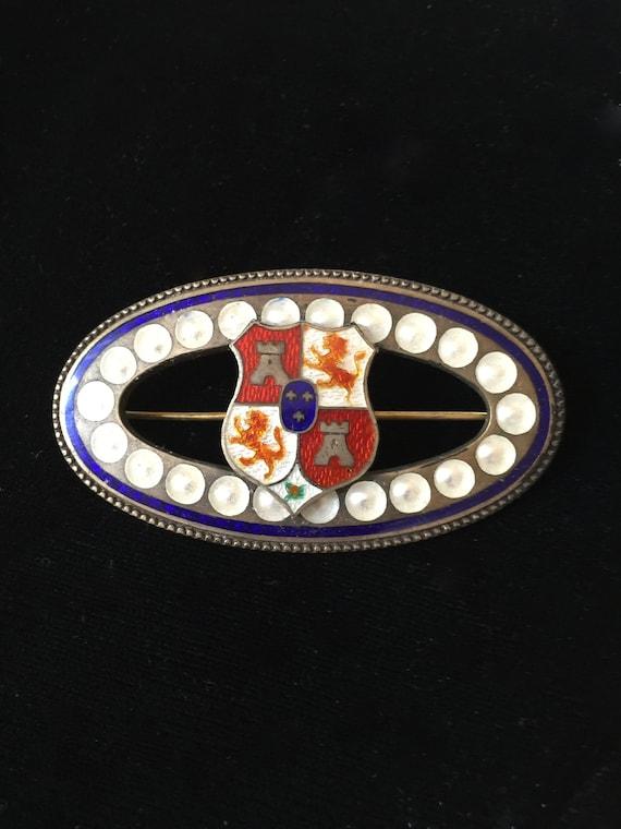 Sterling Guilloche Enamel Shield Brooch