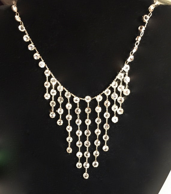 Sterling Art Deco Cascading Crystal Necklace