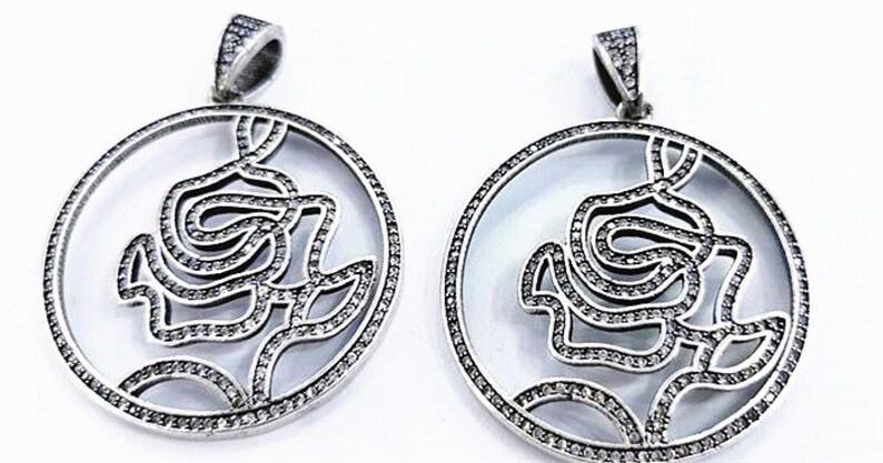 50mm Micro Pave CZ Cubic Zirconia,Antique silver round disc pendant,Geometric design,cutout,flower rose symbol,Personal unique Charm