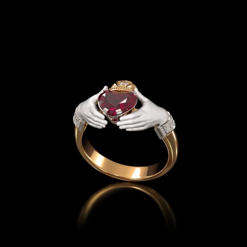 Sterling Silver Claddagh Ring,Silver Heart Ring,Wedding Gift,Ruby Claddagh Ring,Irish Claddagh Ring,Sterling Silver Claddagh Ring