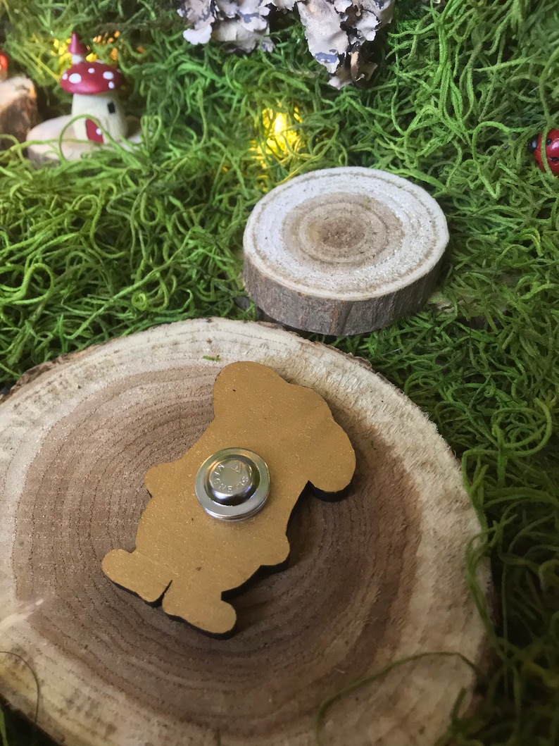 Wood Delectable Bakery Chef Gnome Brooch