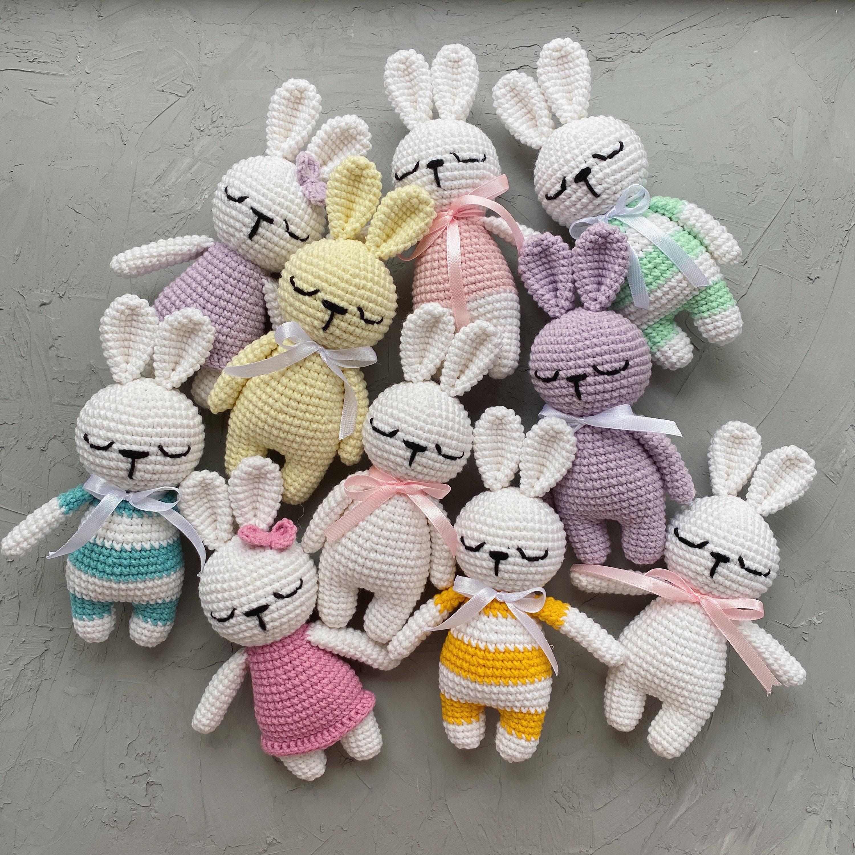 BUNNY CROCHET PATTERN Crochet bunny tutorial Sleeping miniature toy Amigurumi bunny diy Crochet bunny pdf pattern First little toy for baby