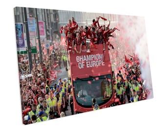 5 Sizes Liverpool FC 2019 Champions League 6x Winners Canvas Print Wall Art
