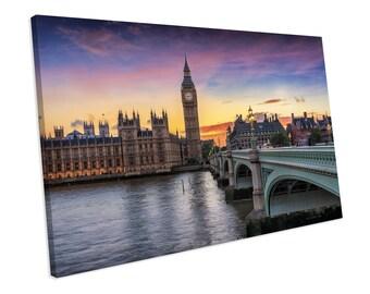 Place Of Westminster London Sunset Landmark CANVAS ART PRINT Box Framed Picture Home Decor