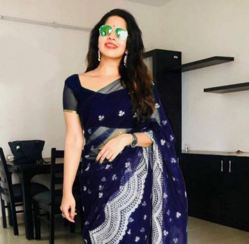 saree for women,Indian saree,saree dress,wedding saree,traditional saree,sari Dark blue Heavy Buttrefly net  saree with Designer blouse
