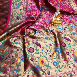 Soft Banarasi Silk Patola Saree With Rich Zari with Blouse Piece Elegant Traditional Indian Sarees Multicolour Beautiful Designer Party Wear