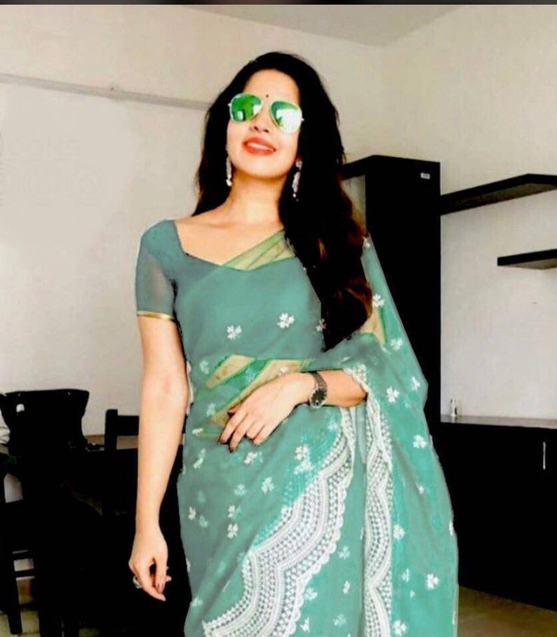 saree for women,Indian saree,saree dress,wedding saree,traditional saree,sari Sky blue Heavy Buttrefly net  saree with Designer blouse