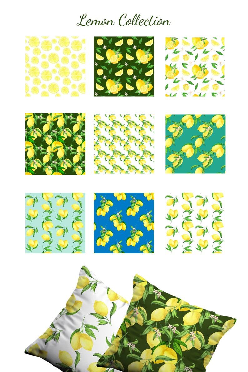Lemon Digital Paper Pack Watercolor Lemon seamless pattern set