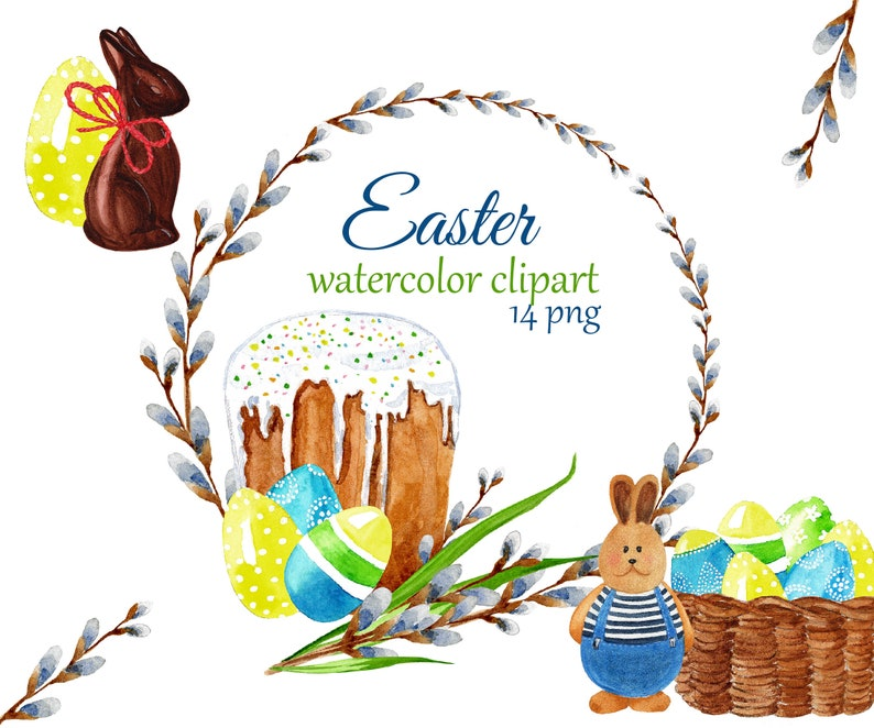 Easter Bunny basket Watercolor Easter clipart Easter wreath