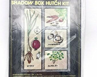 Vogart Crafts Creative Stitchery Shadow Box Kit Mushroom Vegetables NOS Vintage 1976