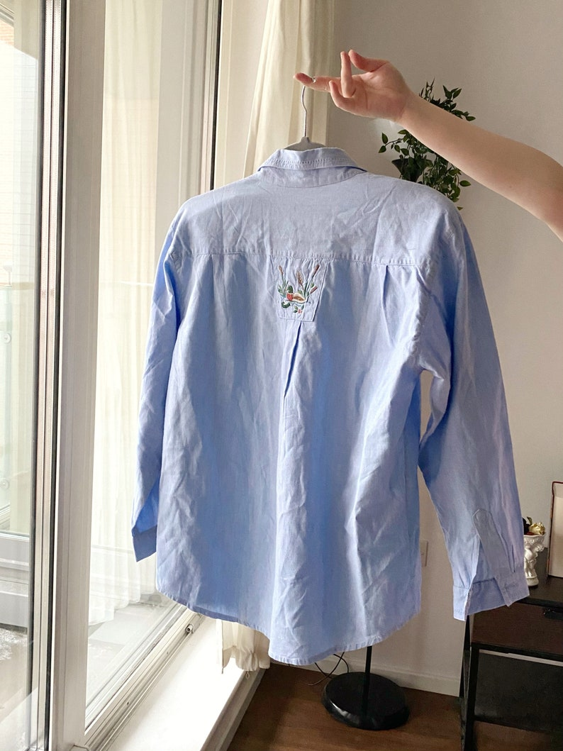 Cute Pastel Blue Embroidered Shirt Adorable Light Blue Embroidered Duckies in a Pond Vintage Button up Shirt Cottagecore Aesthetics