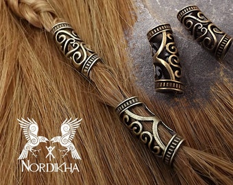 2 Large Viking hair beads, BRONZE - Nordic color - hair jewelry, braid beads, dreadlocks - LARP, GN