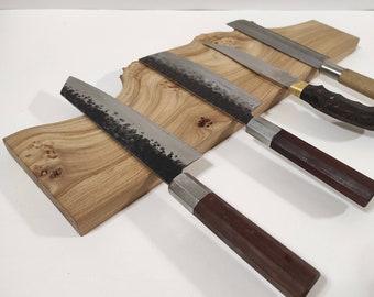 magnetic knife holder,wall art live edge wood, magnetic knife rack, handmade wooden cutlery holder, raw edge mountain elm wood, gift for him