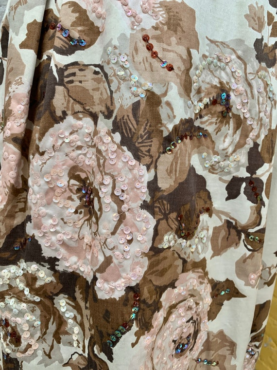 1950s Cream Colored Rose Print Dress - image 7