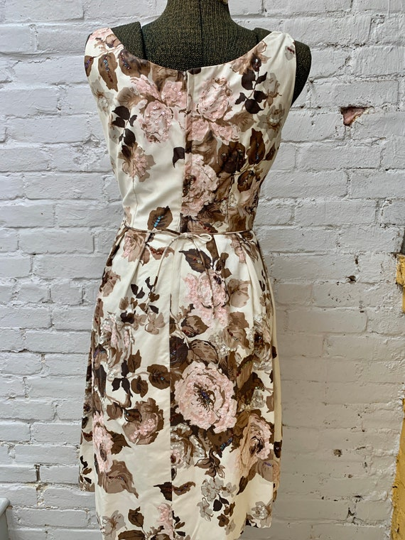 1950s Cream Colored Rose Print Dress - image 2