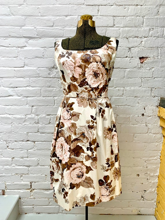 1950s Cream Colored Rose Print Dress