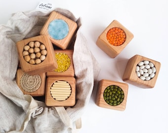 Sensory cubes for babies - Wooden blocks - Montessori tactile cube - Fine motor baby toys - Blocks with linen bag - Set of cubes