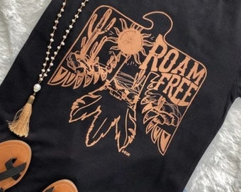 Roam Free T-shirt Vintage Distressed Band Tees Rodeo Fashion Country Western T-shirts